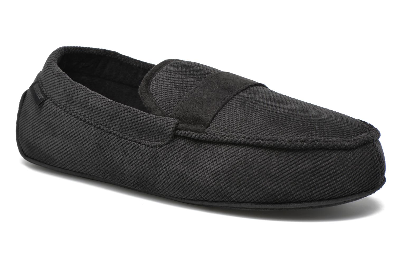 Chaussons Isotoner Mocassin velours côtelé Noir vue détail/paire