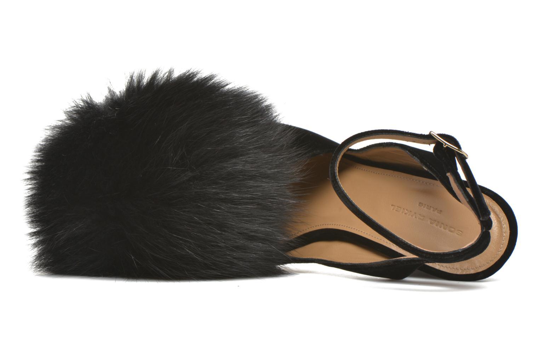 Zapatos de tacón Sonia Rykiel Plateforme Pompon Negro vista lateral izquierda