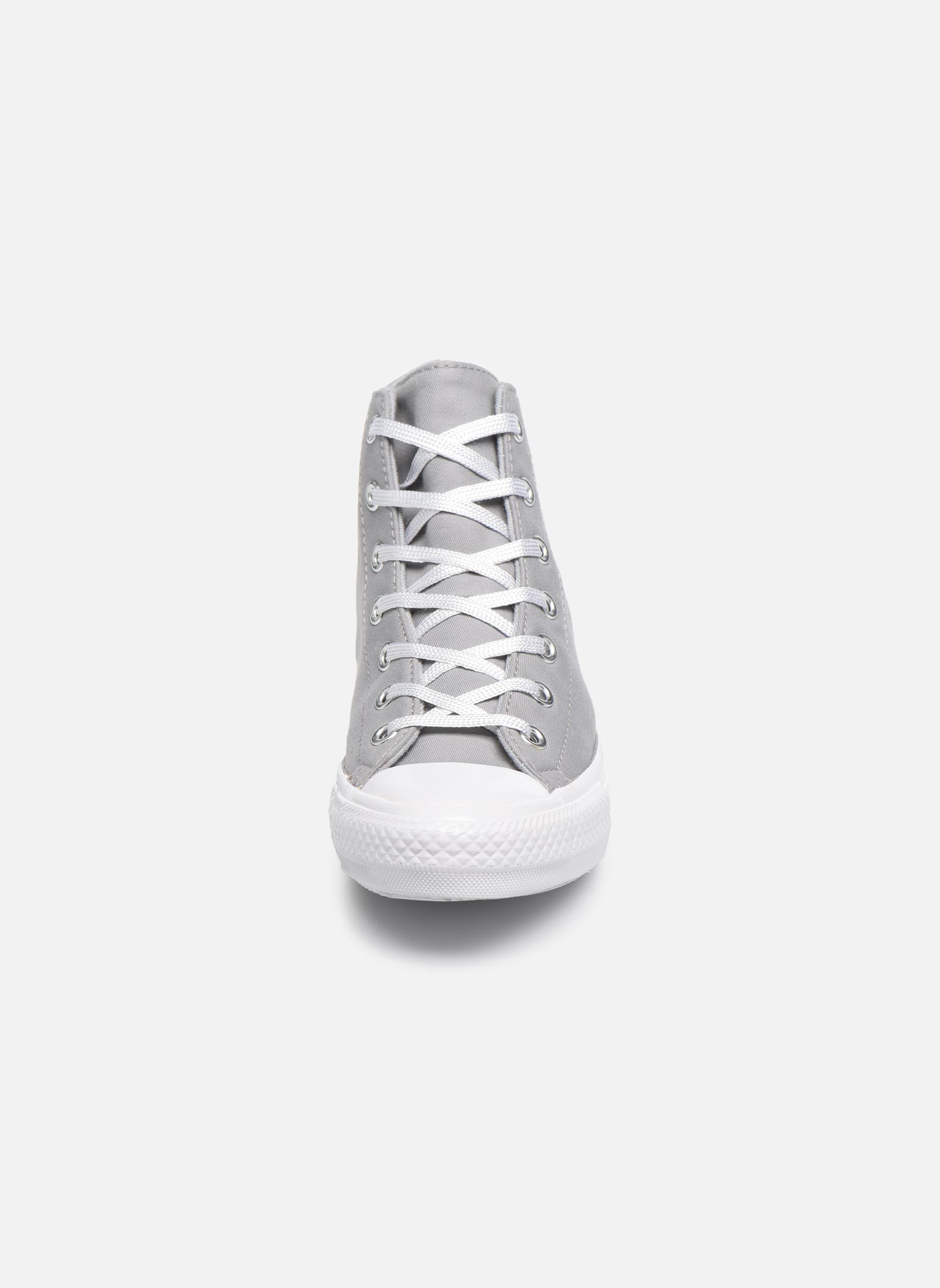 Baskets Converse Chuck Taylor All Star Gemma Twill Hi Gris vue portées chaussures