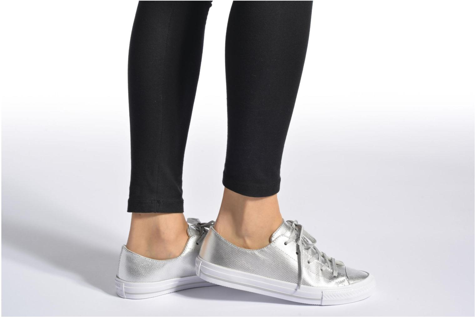 Trainers Converse Ctas Gemma Diamond Foil Leather Ox Silver view from underneath / model view