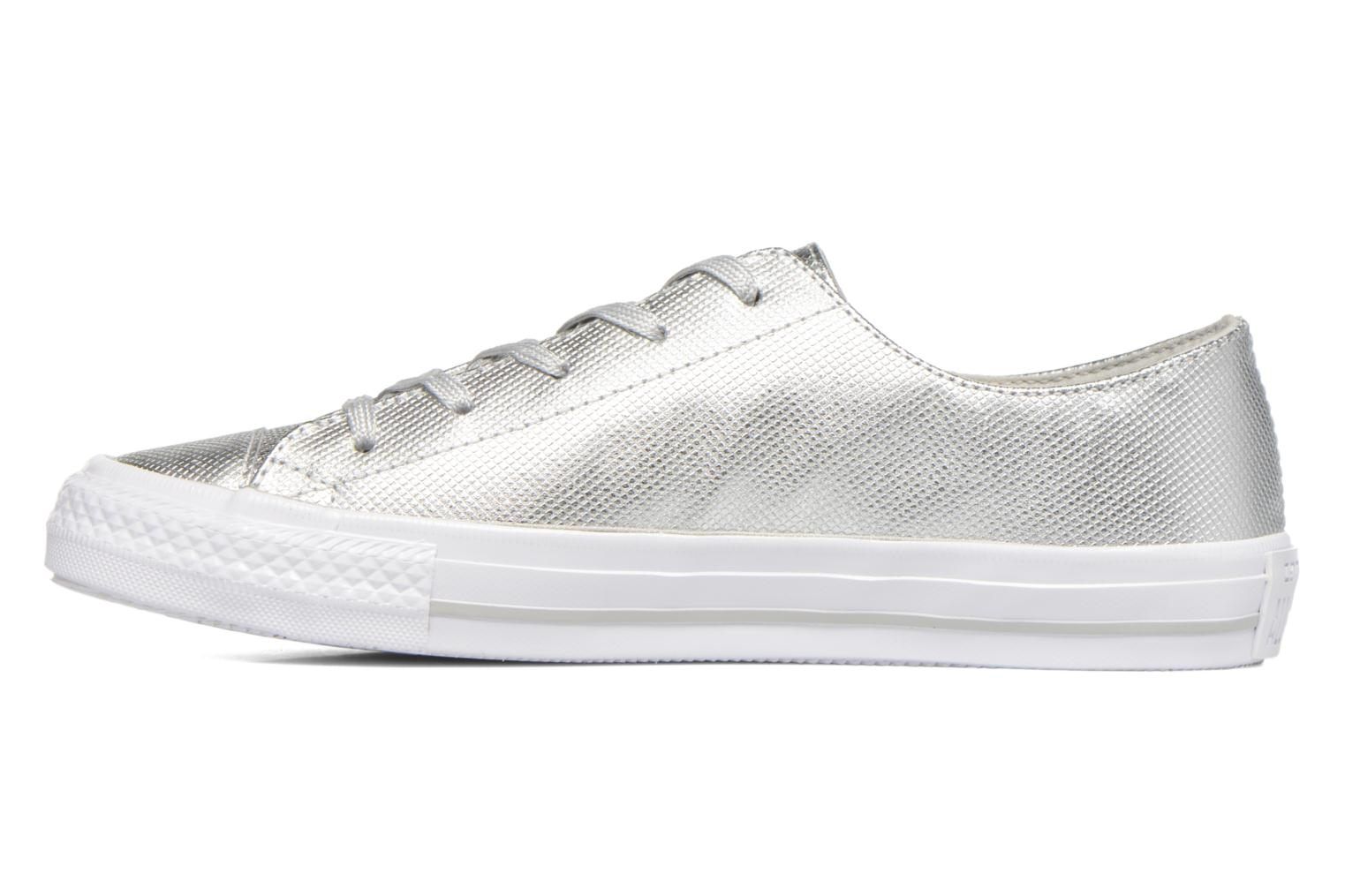 Deportivas Converse Ctas Gemma Diamond Foil Leather Ox Plateado vista de frente