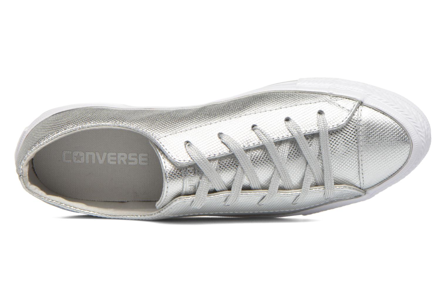 Trainers Converse Ctas Gemma Diamond Foil Leather Ox Silver view from the left