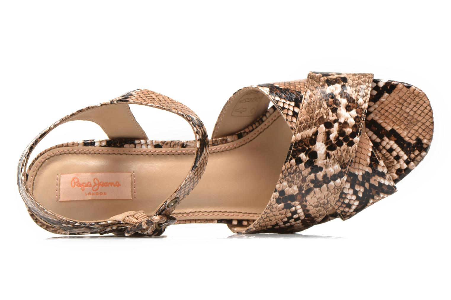 Sandals Pepe jeans Grace animal Beige view from the left