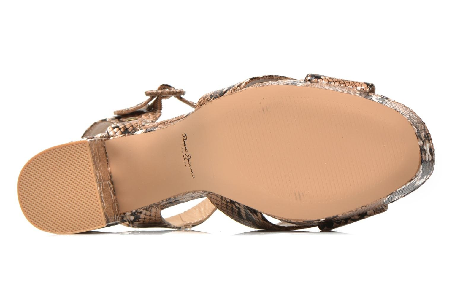 Sandals Pepe jeans Grace animal Beige view from above
