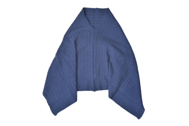 Poncho laine cachemire Bleu
