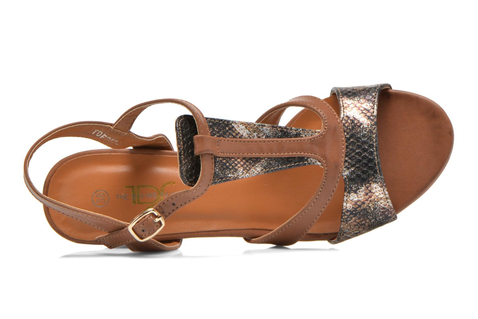 Sandals Divine Factory Yolina Brown view from the left