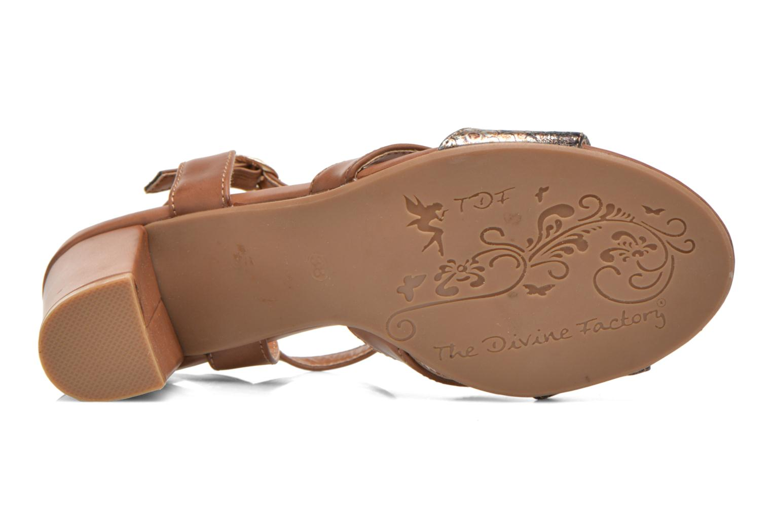 Sandals Divine Factory Yolina Brown view from above