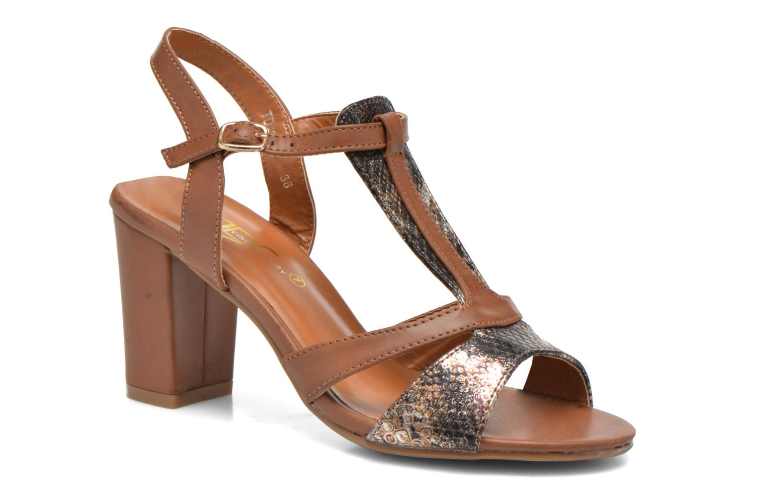 Sandals Divine Factory Yolina Brown detailed view/ Pair view