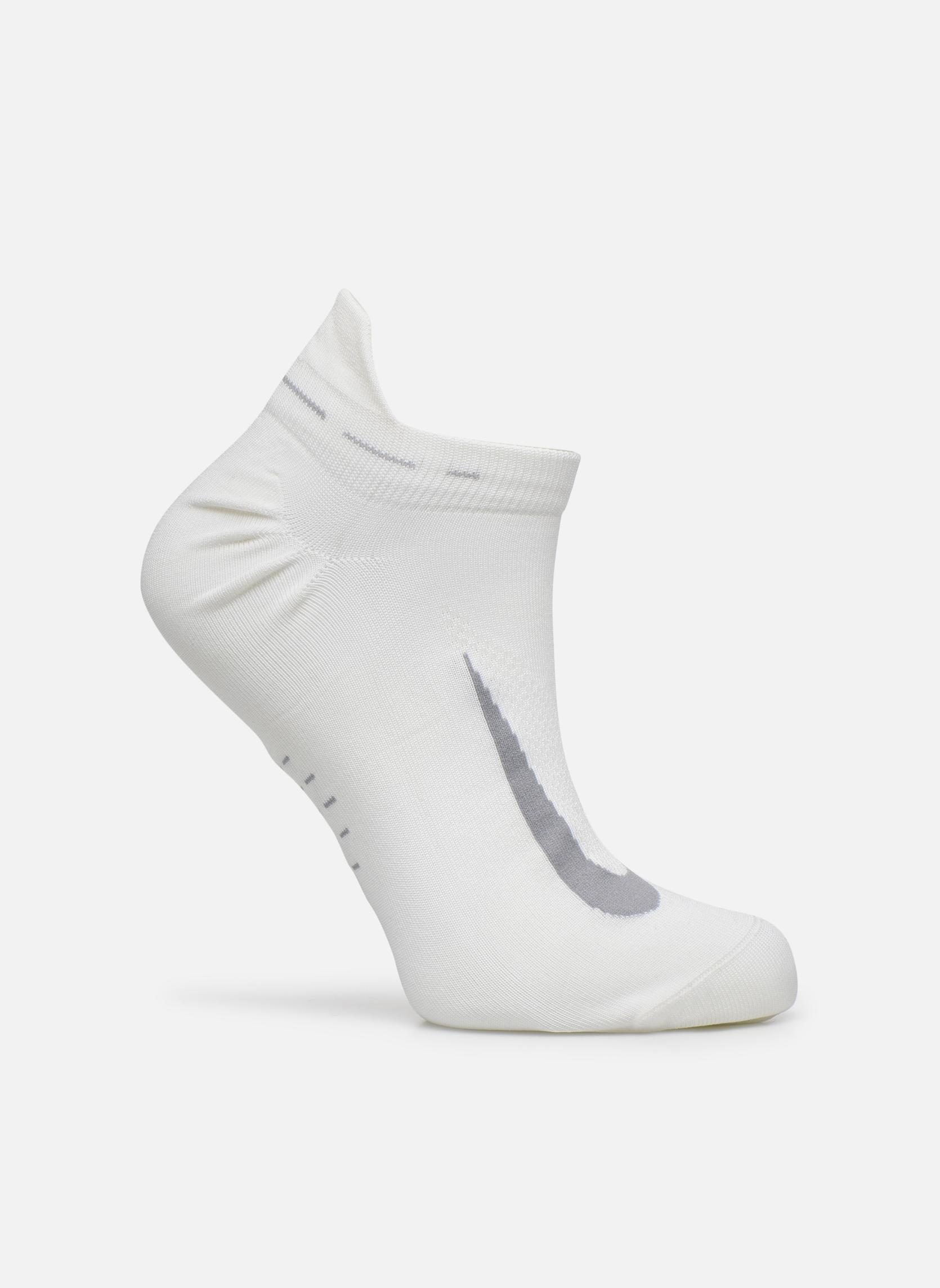 Nike Elite Lightweight No-Show Tab Running Sock White/Wolf Grey/(Wolf Grey)