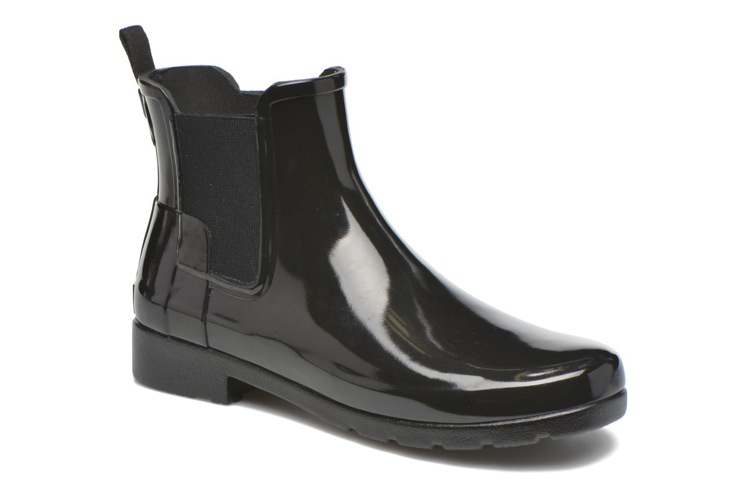 Bottines et boots Hunter Original Refined Chelsea Gloss Noir vue détail/paire