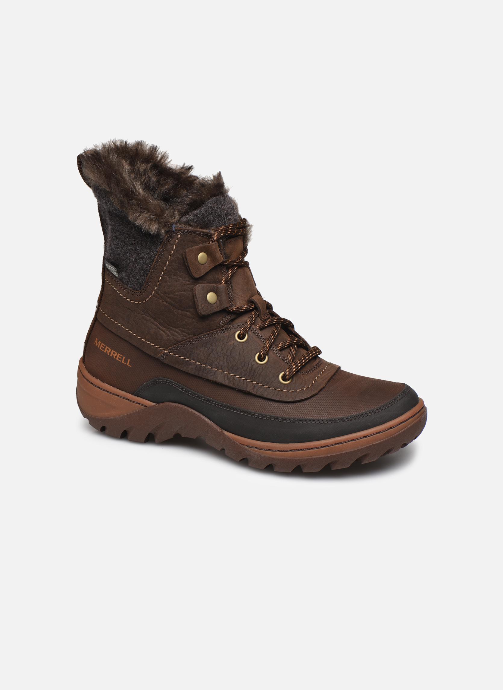 Chaussures de sport Merrell Sylva Mid Lace Waterproof Marron vue détail/paire