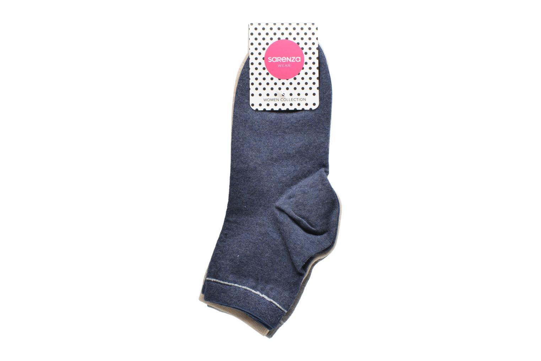 Chaussettes unies Pack de 3 femme coton bleu MC1872 + gris MC1620+ MC1706