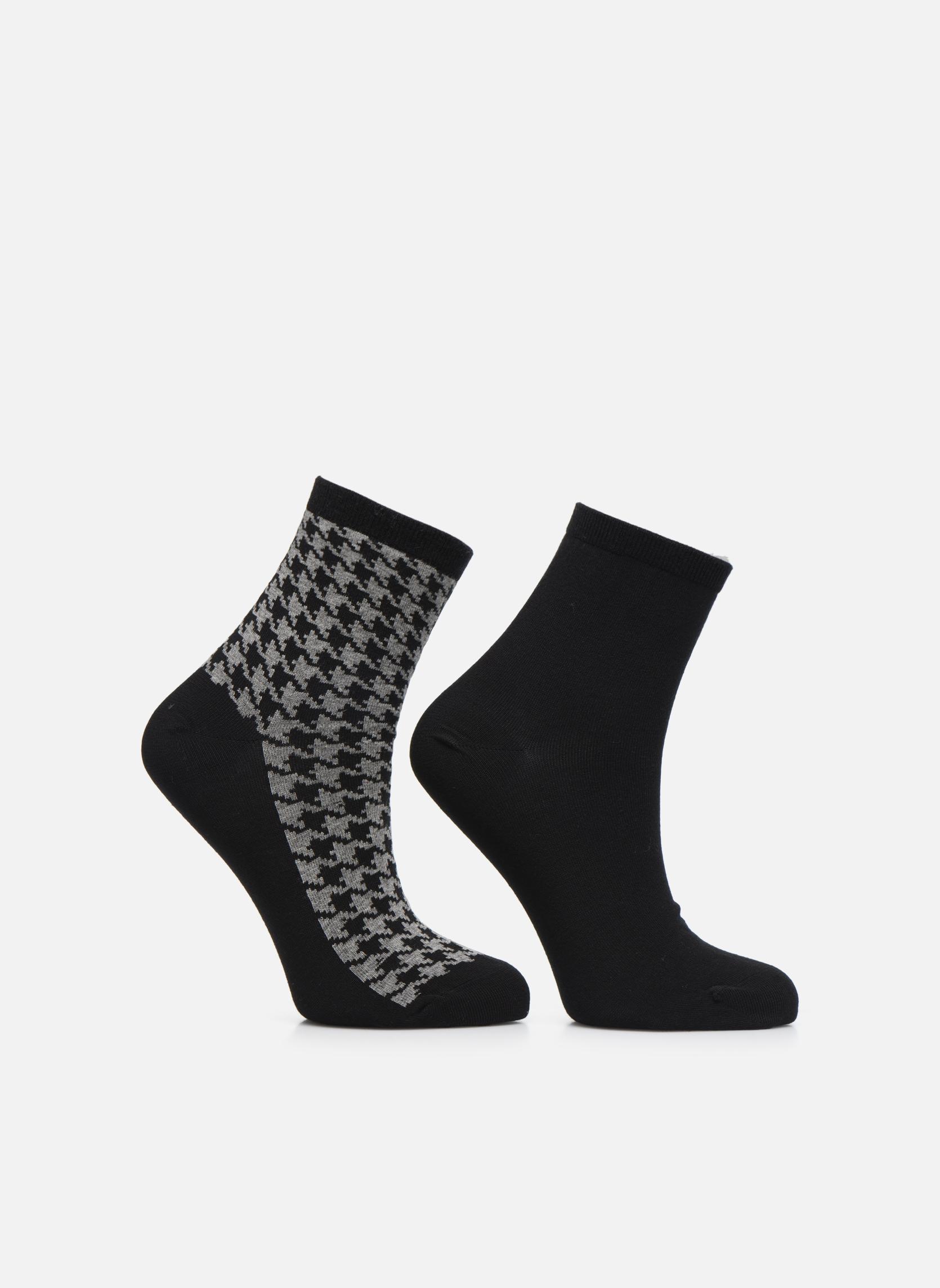 Chaussettes motif Pack de 2 femme coton Noir