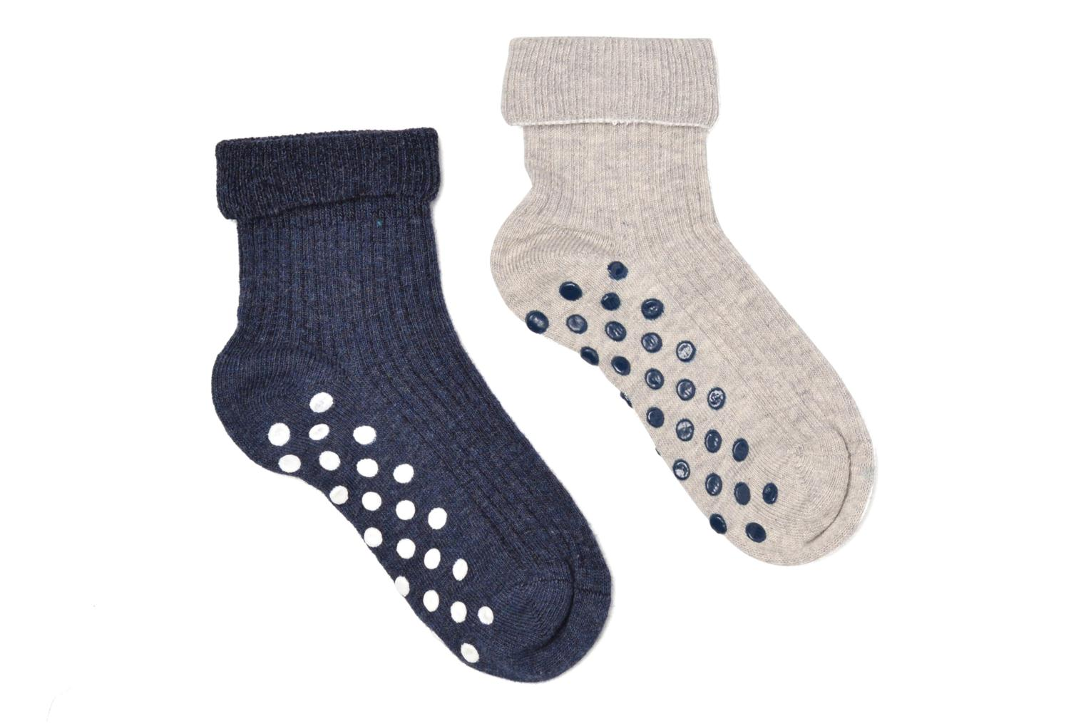 Chaussons-chaussettes Pack de 2 bebe antiderapant navy +grey