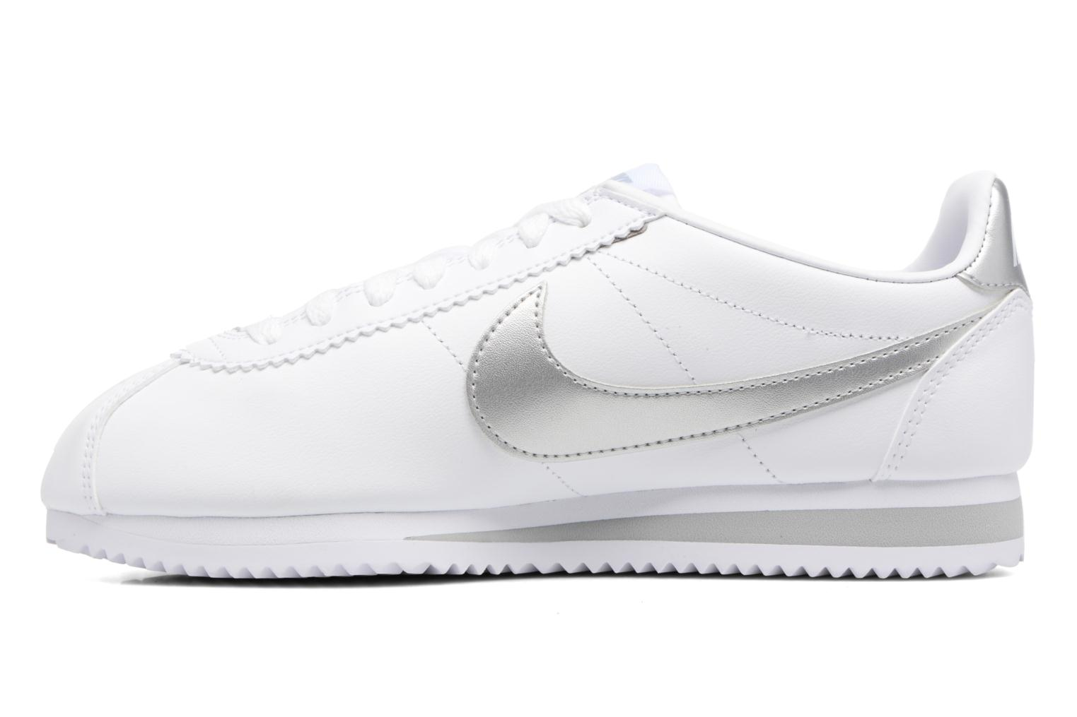 Wmns Classic Cortez Leather White/Metallic Silver-Wolf Grey