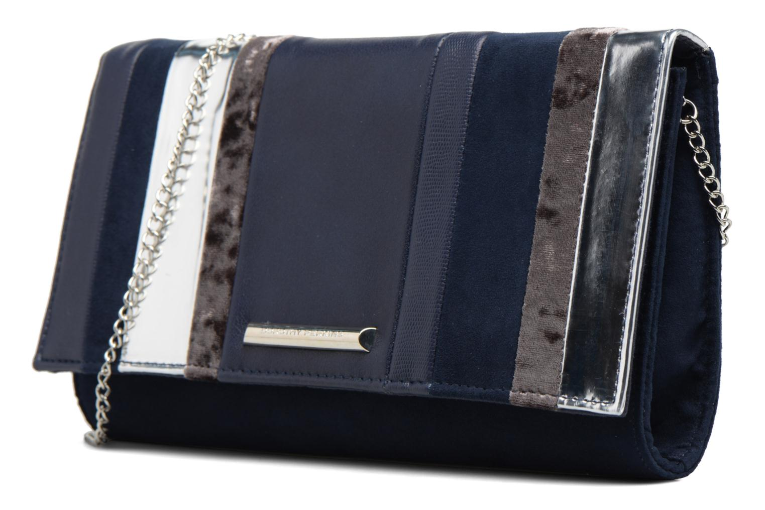 Panelled Striped Clutch Navy silver