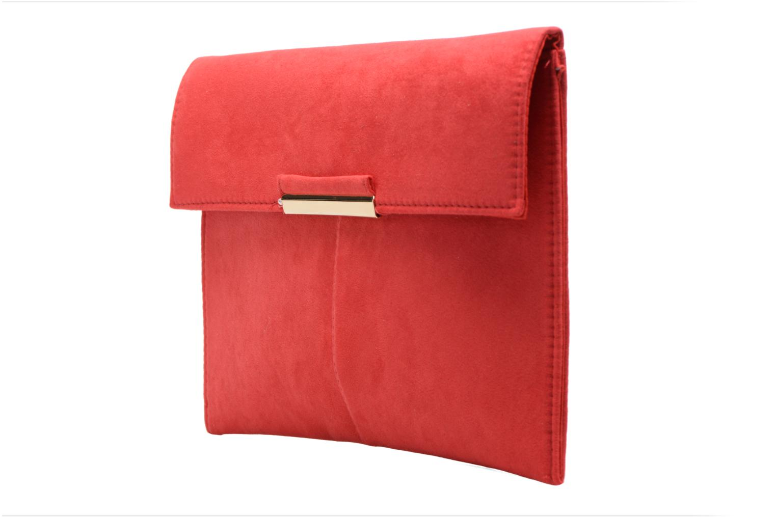 Suede Tab Clutch Berry