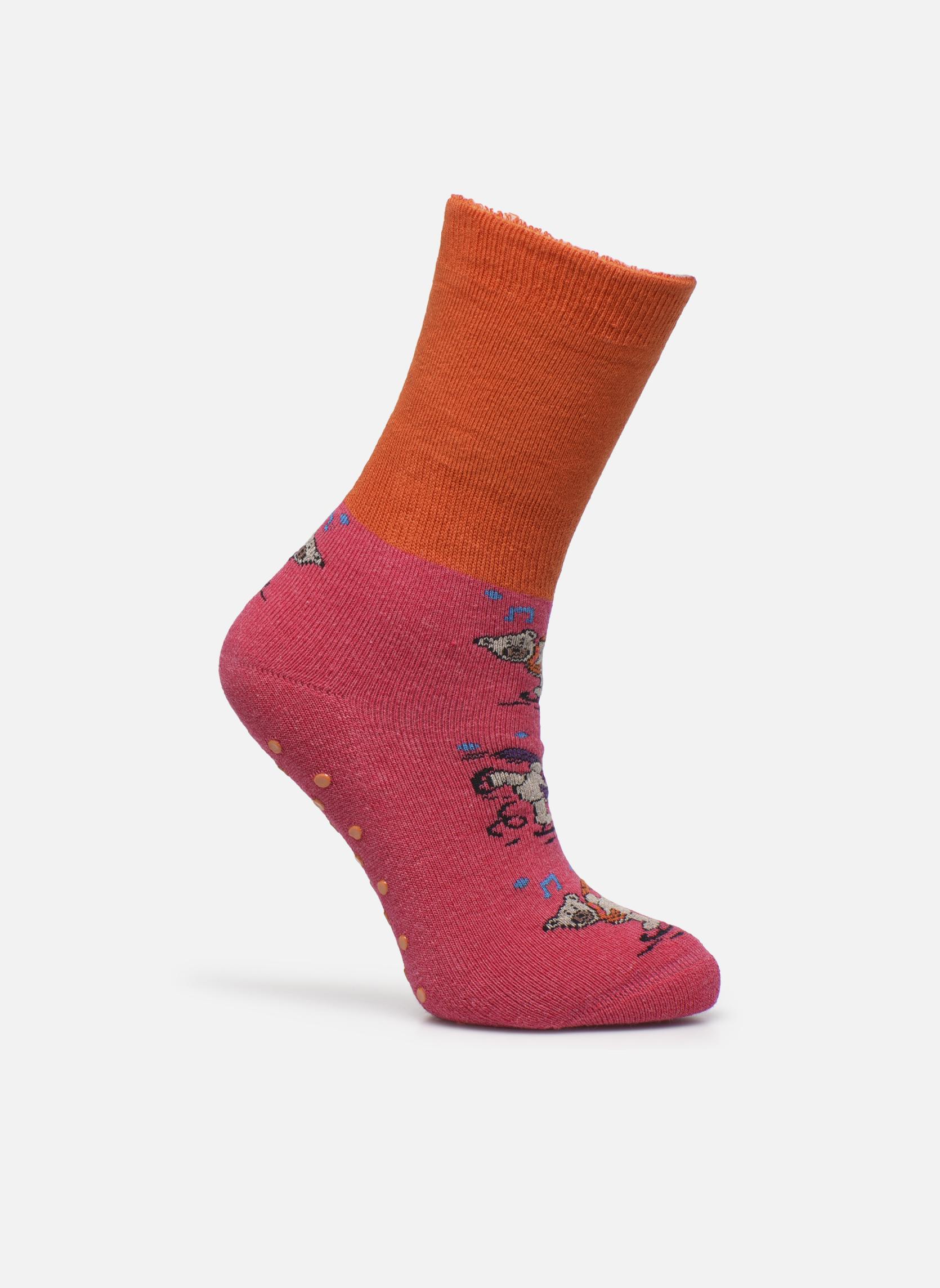 Chaussons-chaussettes Enfant Coton Anti-dérapants Ours 10506 ROSE