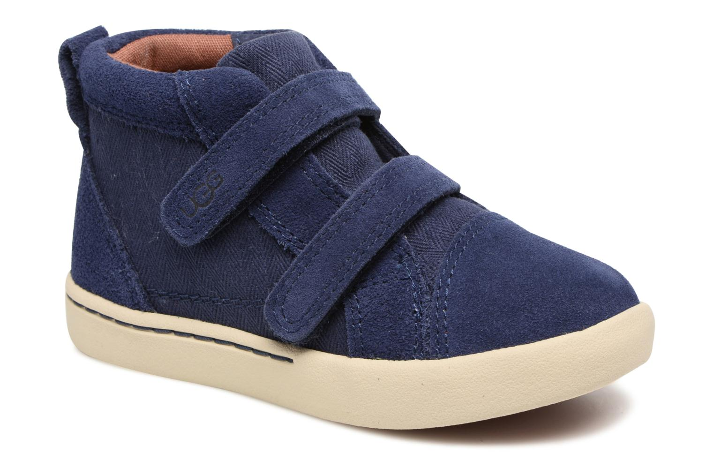Chaussures à scratch UGG Rennon Herringbone Bleu vue détail/paire