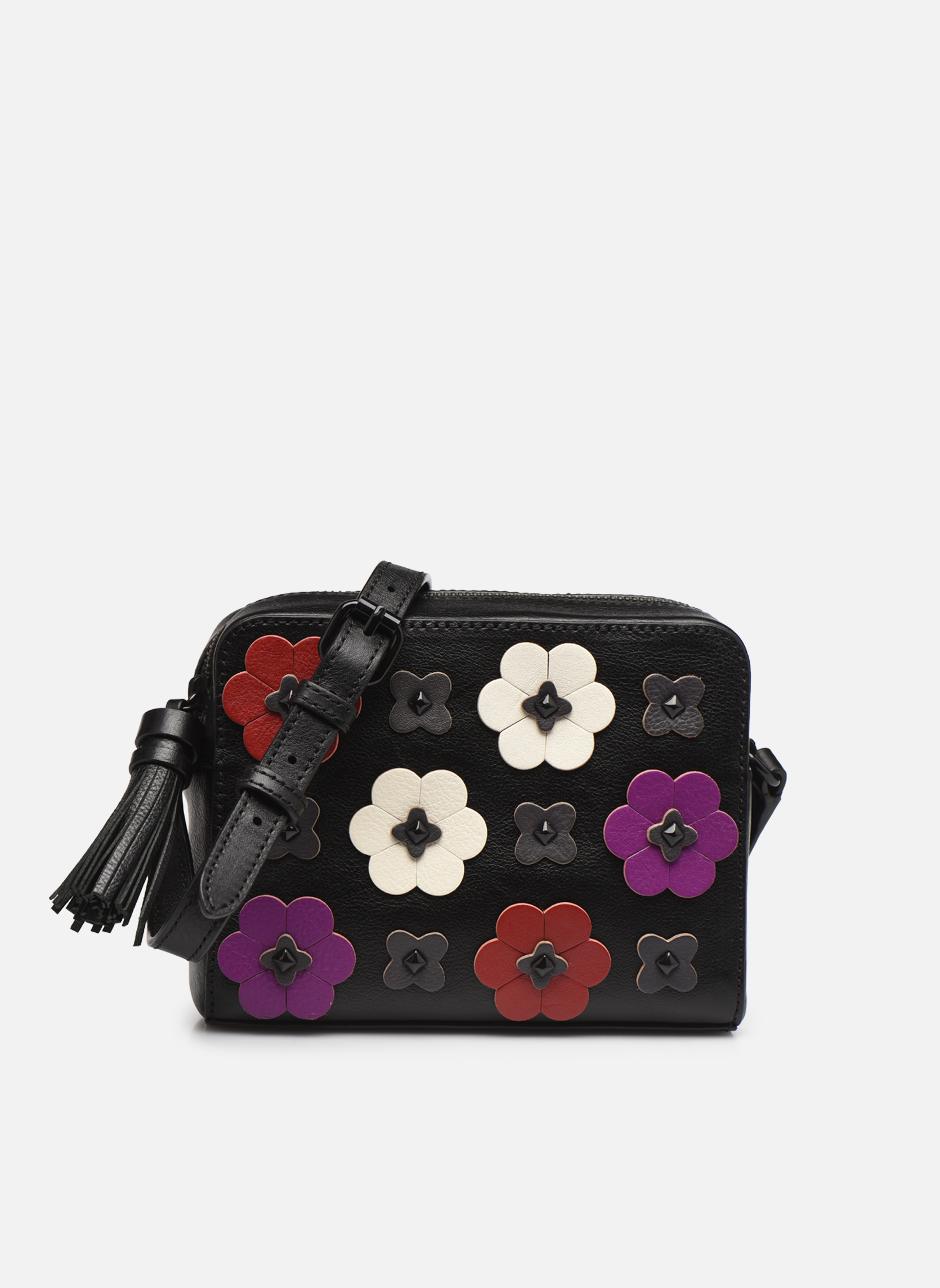 Floral Applique Camera bag Black multi
