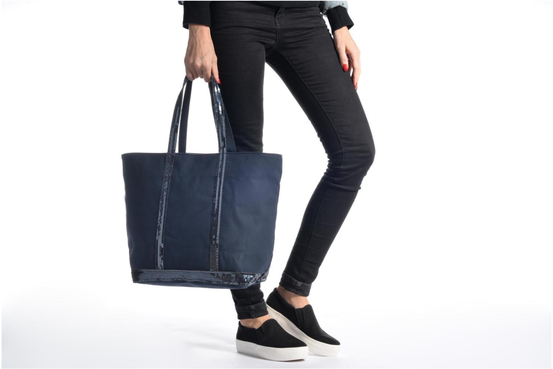 Sacs à main Vanessa Bruno Cabas coton zippé paillettes M+ Bleu vue haut