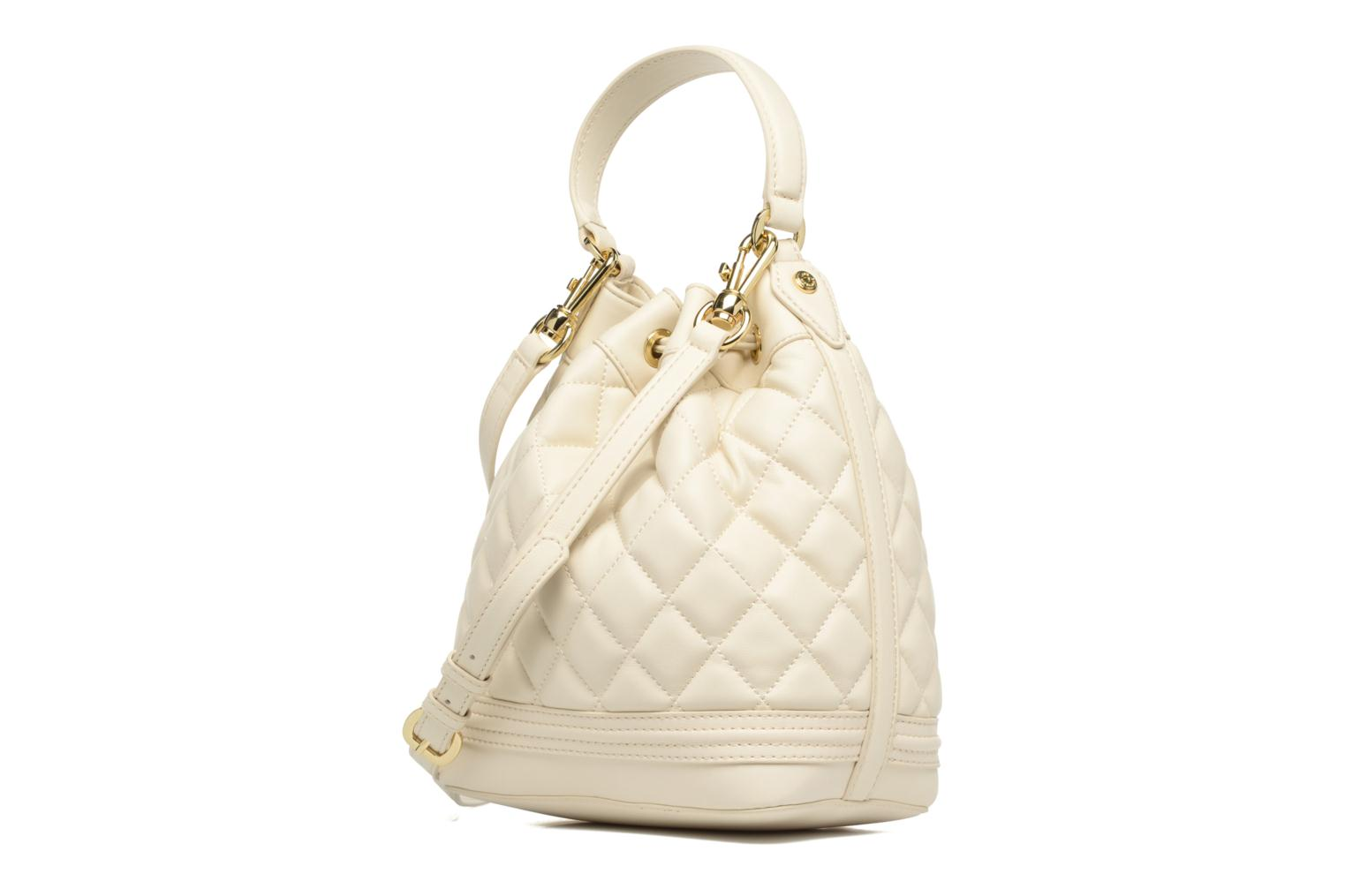 Sacs à main Love Moschino Super quilted Bucket bag Blanc vue droite