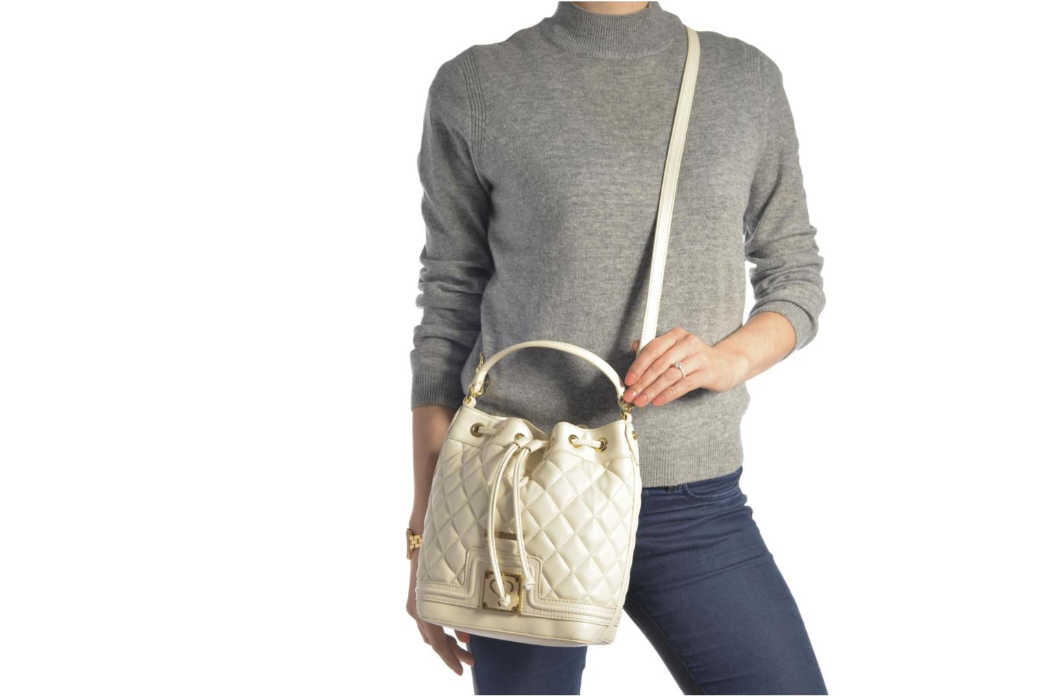Sacs à main Love Moschino Super quilted Bucket bag Blanc vue haut