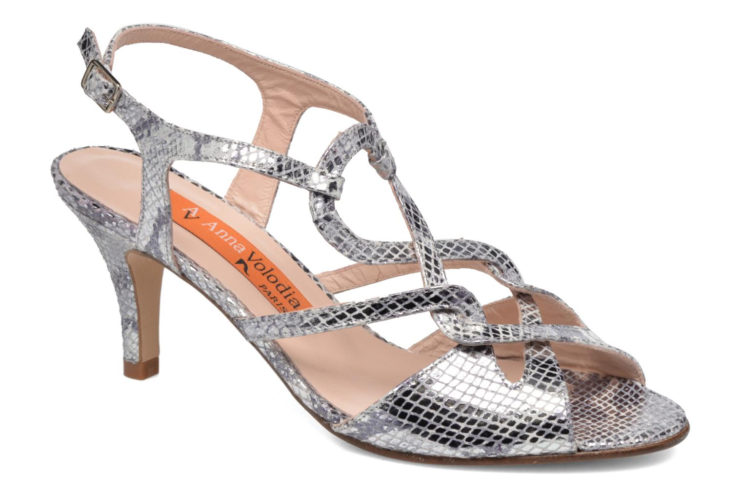 Sandals Anna Volodia Cassandra Silver detailed view/ Pair view