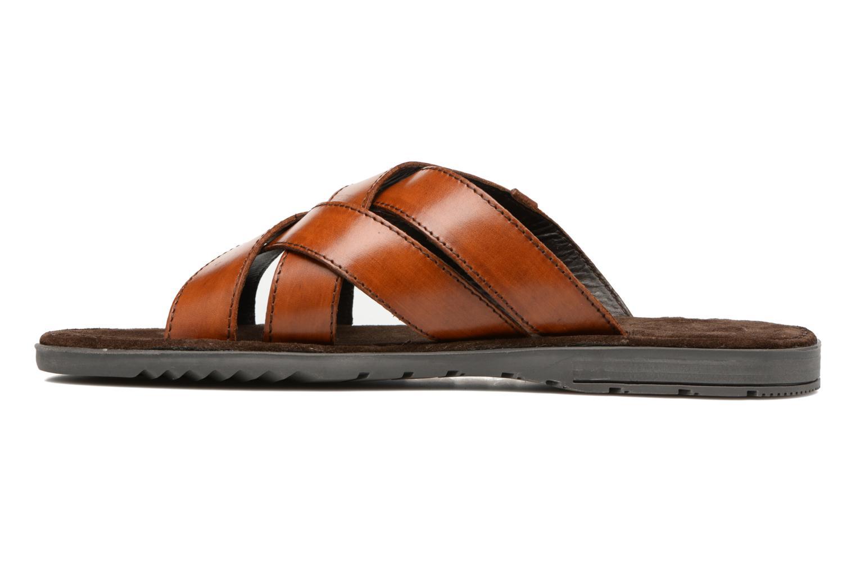 Sandales et nu-pieds Base London Laurent Marron vue face