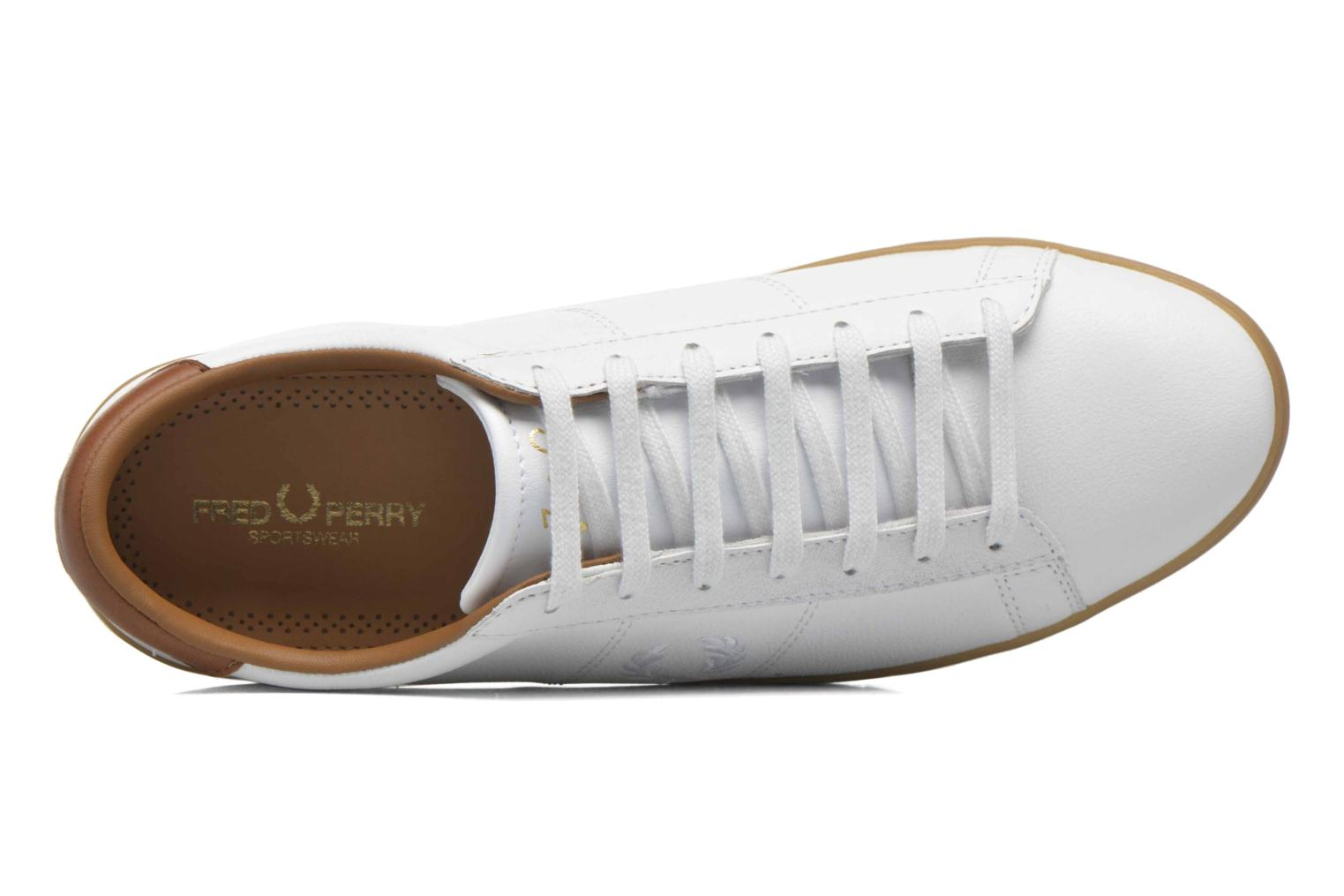 Baskets Fred Perry Spencer Tumbled Leather Blanc vue gauche