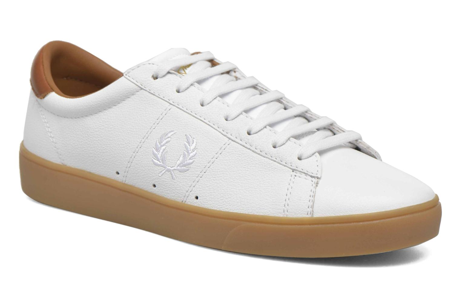 Baskets Fred Perry Spencer Tumbled Leather Blanc vue détail/paire