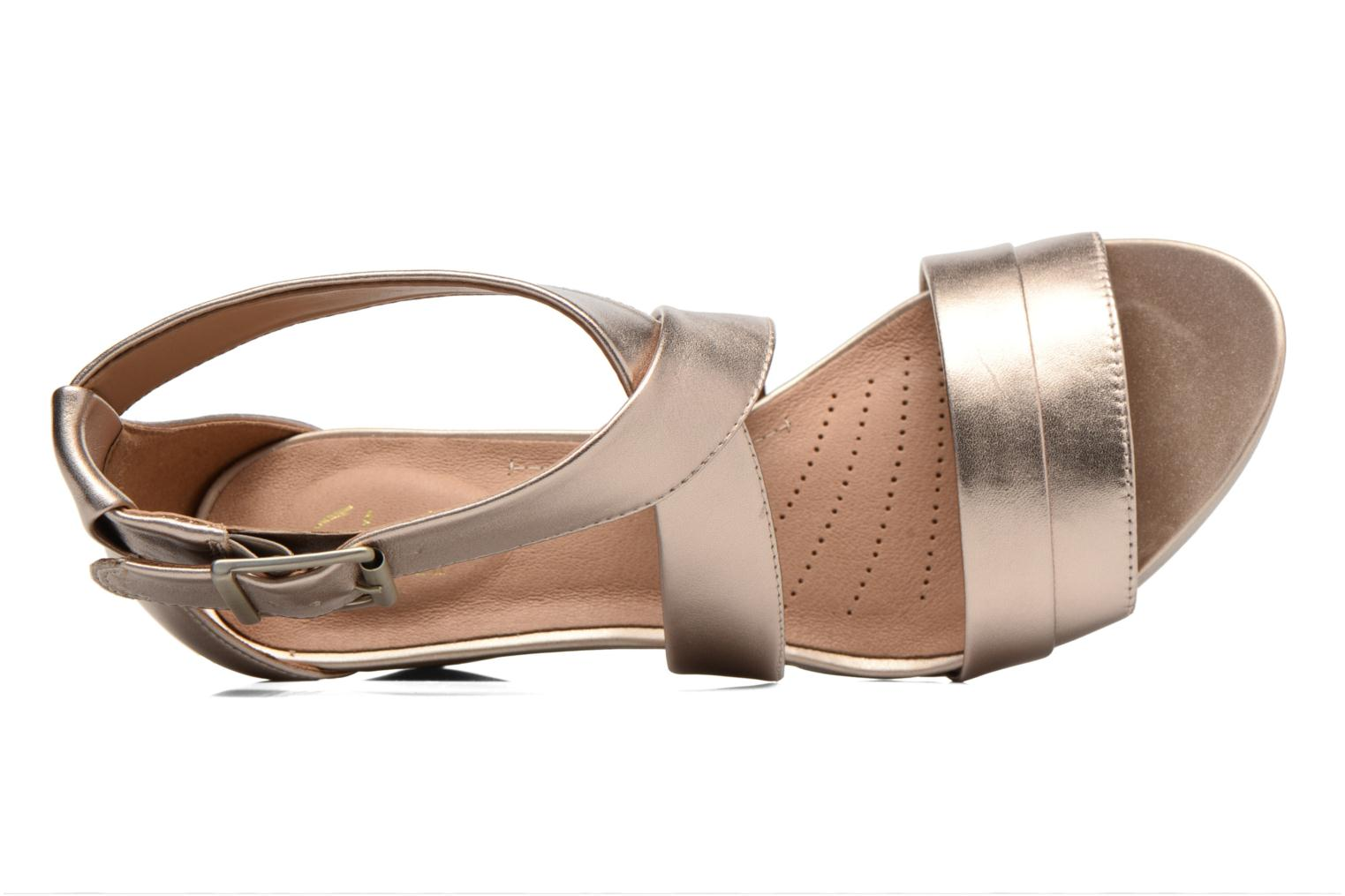 Sandals Clarks Acina Newport Bronze and Gold view from the left