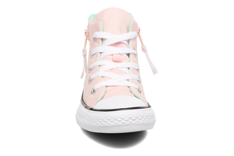 Baskets Converse Chuck Taylor All Star Sport Zip Hi Rose vue portées chaussures