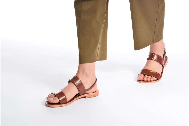 Sandales et nu-pieds Les Tropéziennes par M Belarbi Haude Marron vue bas / vue portée sac