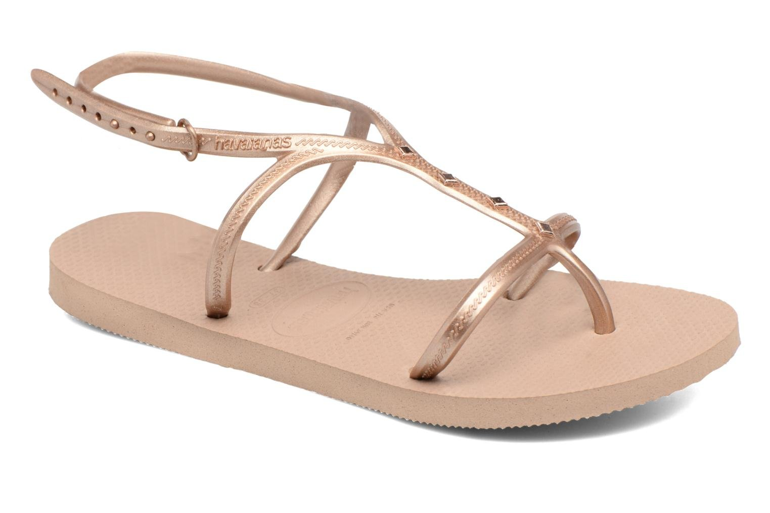Sandals Havaianas Allure Maxi Brown detailed view/ Pair view