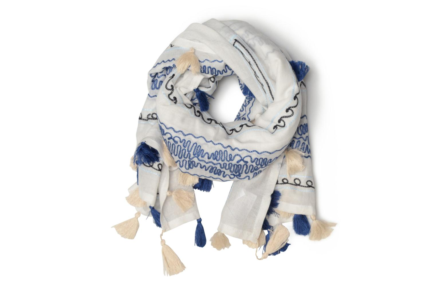 Cotton embroidery scarf 102x102 Off white
