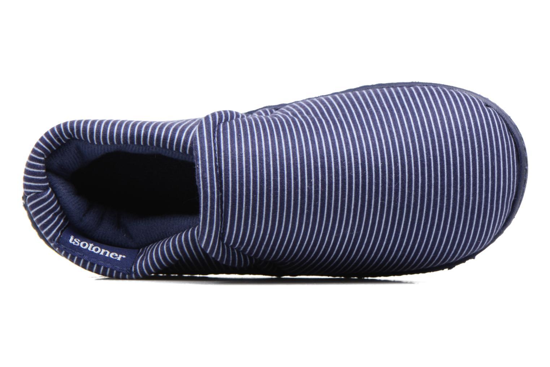 Chaussons Isotoner Mocassin Suédine E Bleu vue gauche
