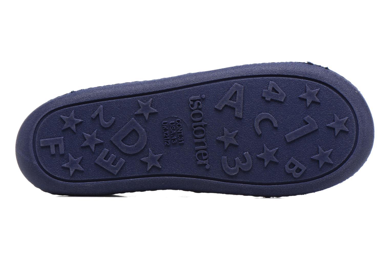 Chaussons Isotoner Mocassin Suédine E Bleu vue haut