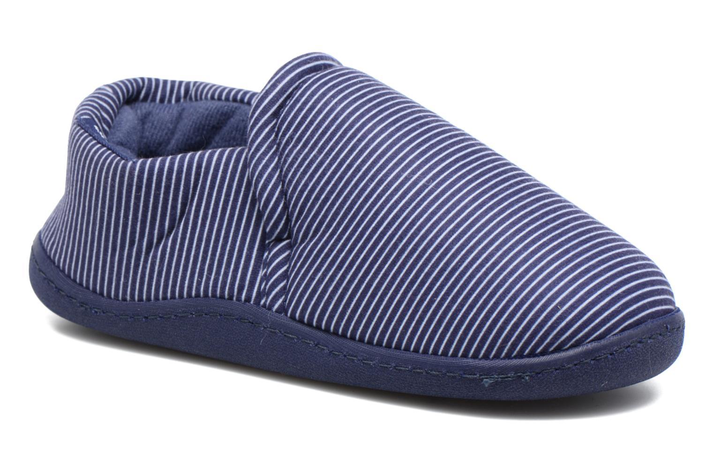 Chaussons Isotoner Mocassin Suédine E Bleu vue détail/paire