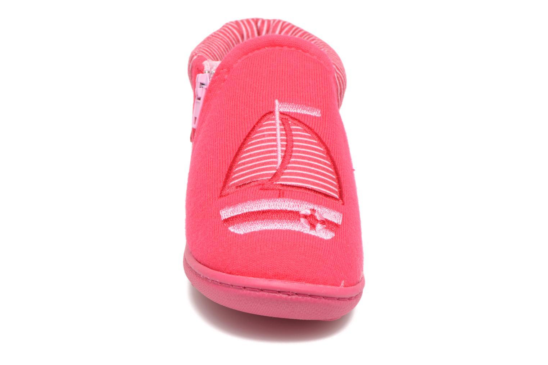 Chaussons Isotoner Bottilon Zip Jersey Suédine Rose vue portées chaussures