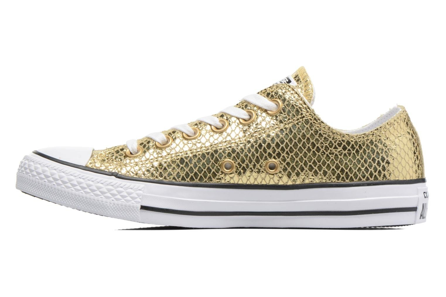 Baskets Converse Chuck Taylor All Star Ox Metallic Snake Leather Or et bronze vue face