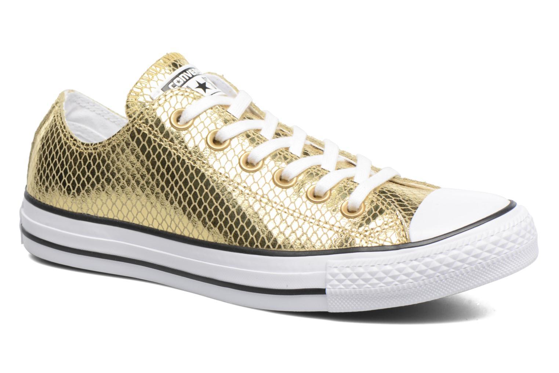 Baskets Converse Chuck Taylor All Star Ox Metallic Snake Leather Or et bronze vue détail/paire