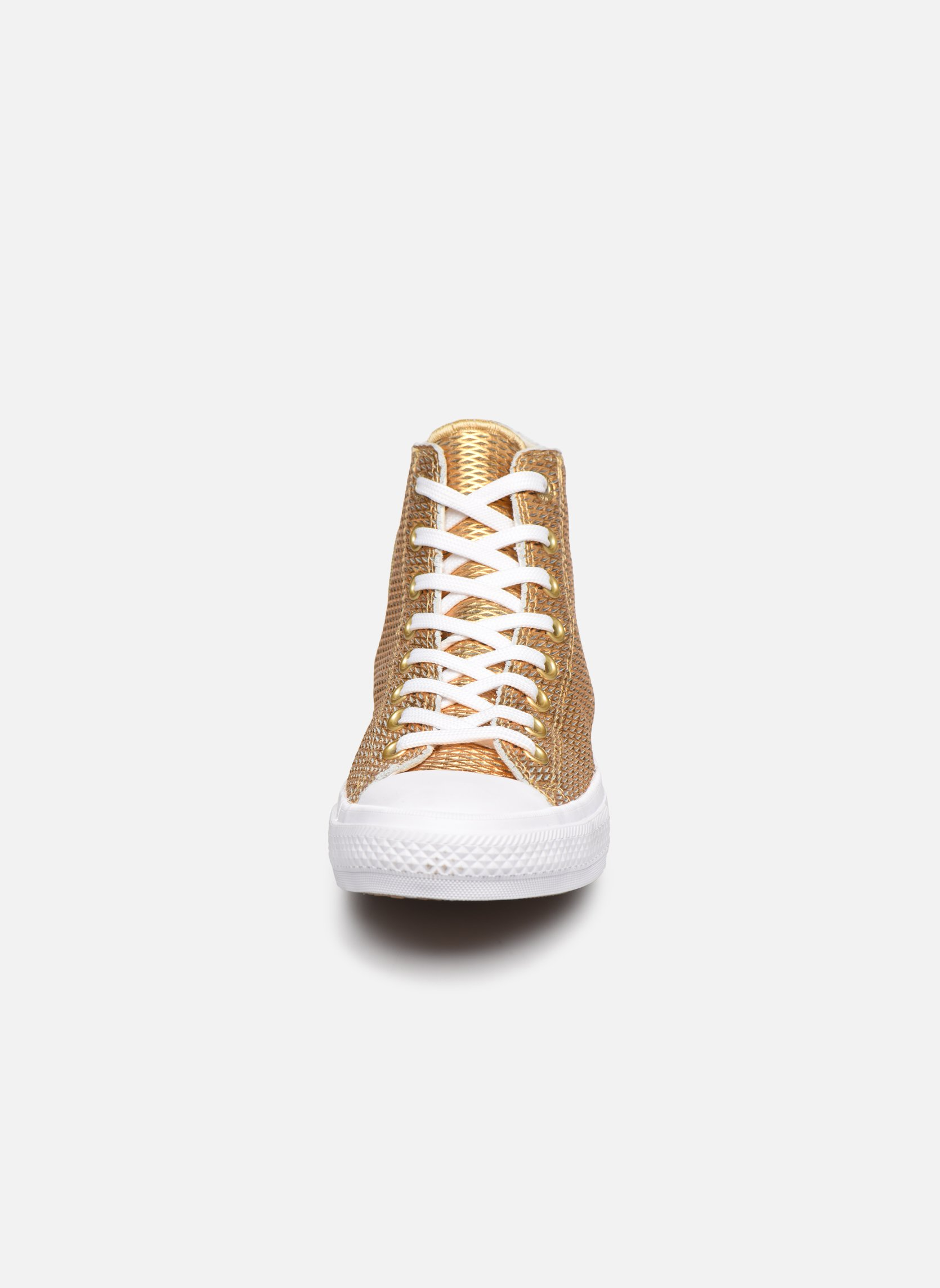Baskets Converse Chuck Taylor All Star II Hi Perf Metallic Leather Or et bronze vue portées chaussures