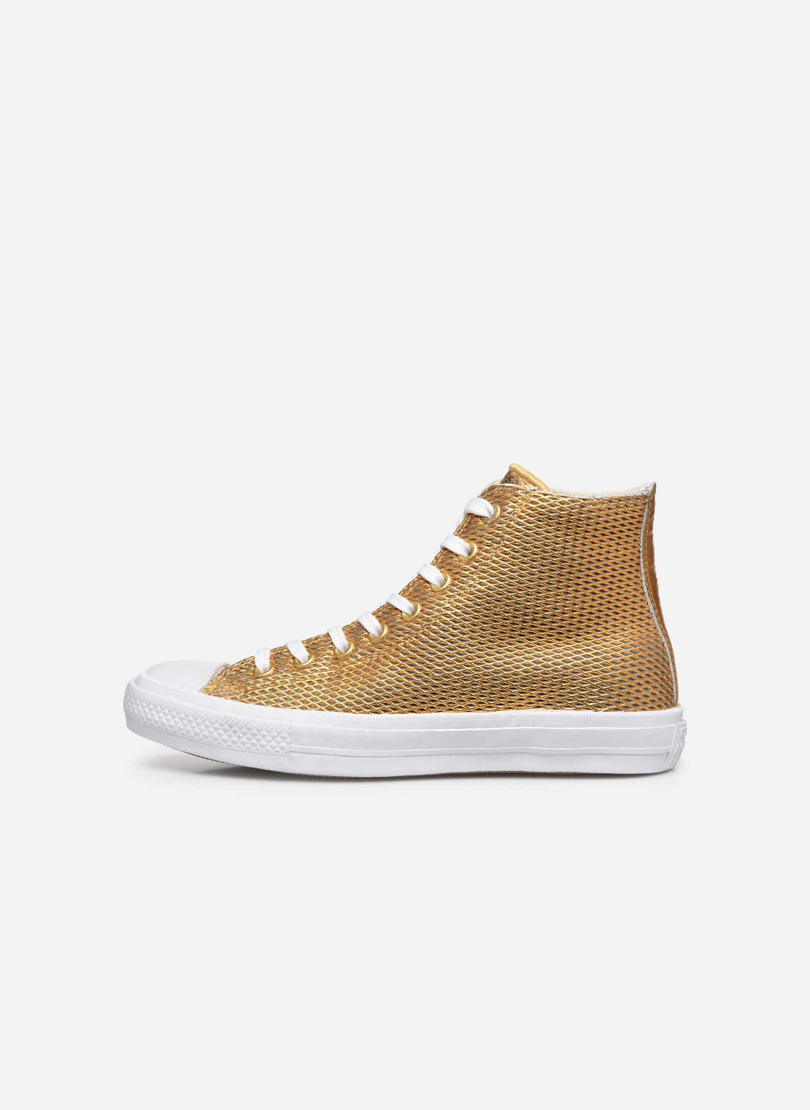 Baskets Converse Chuck Taylor All Star II Hi Perf Metallic Leather Or et bronze vue face