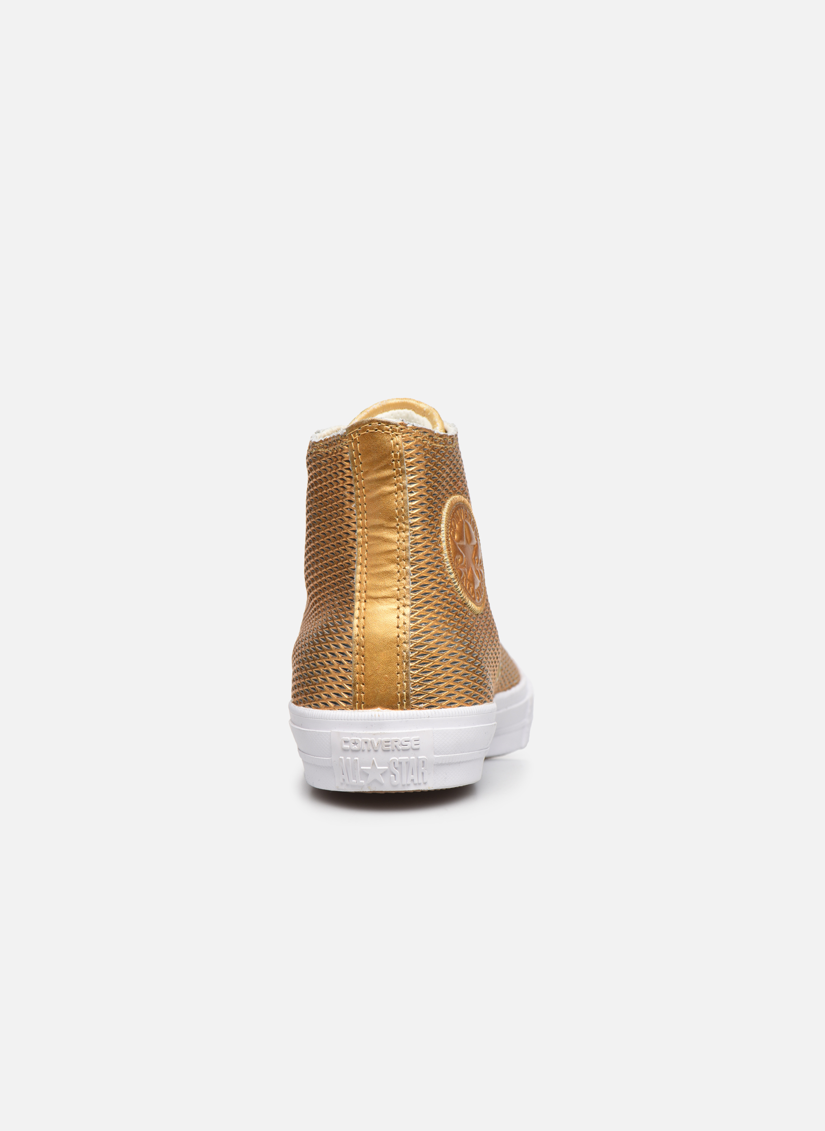 Baskets Converse Chuck Taylor All Star II Hi Perf Metallic Leather Or et bronze vue droite