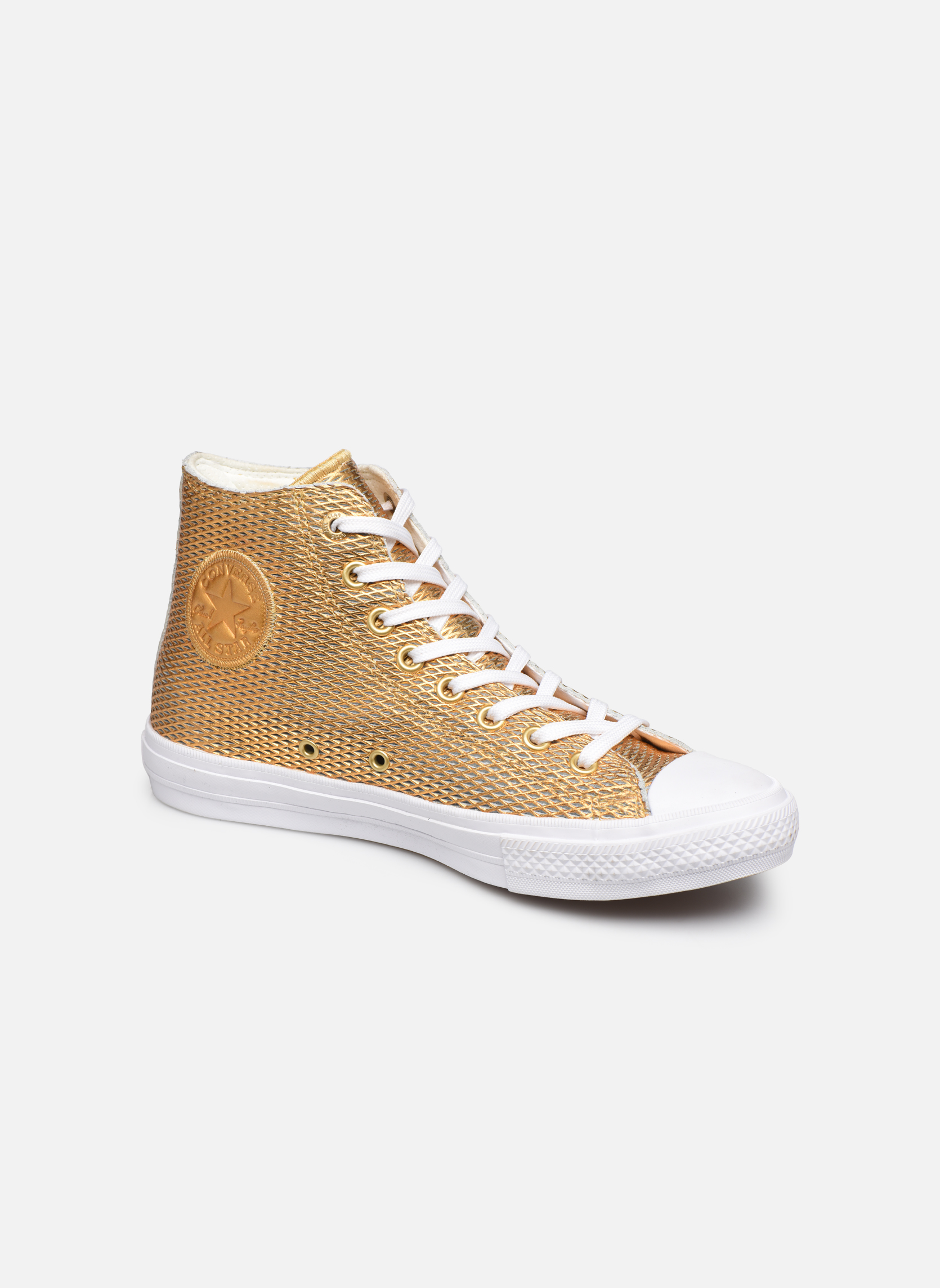 Baskets Converse Chuck Taylor All Star II Hi Perf Metallic Leather Or et bronze vue détail/paire