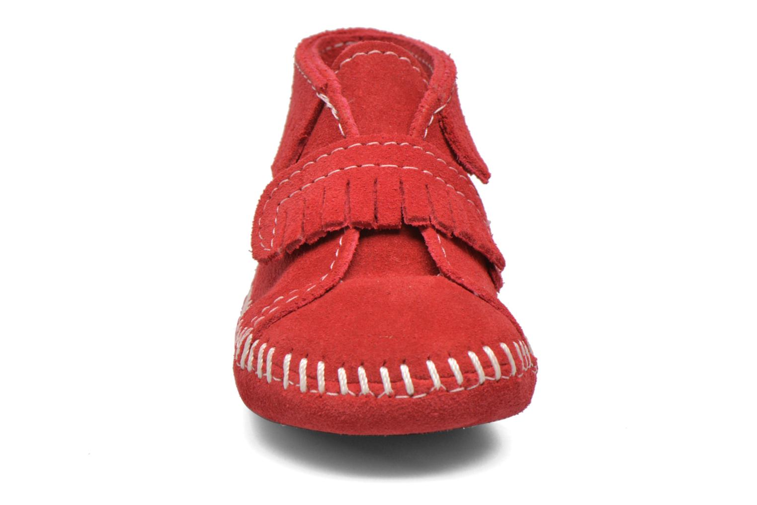 Front Strap Bootie Red Suede