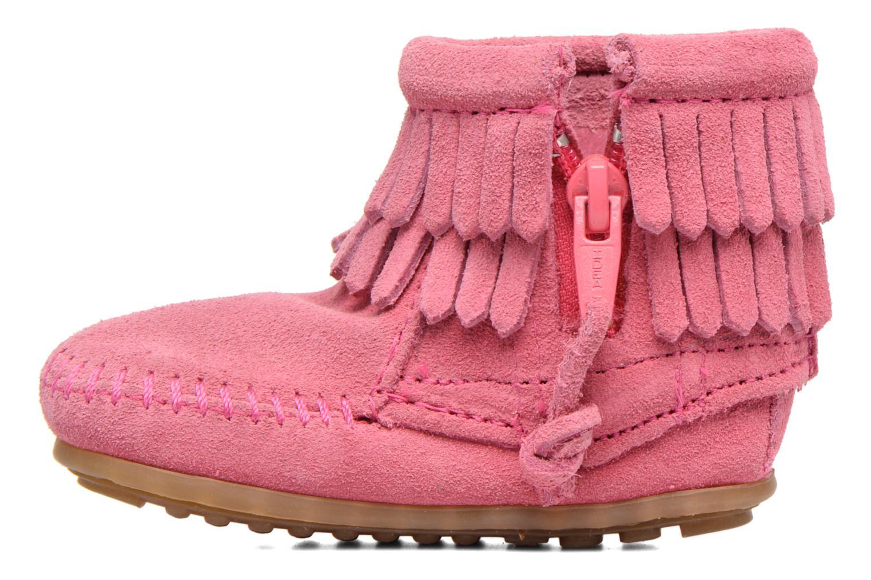 Bottines et boots Minnetonka Double Fringe side zip boot B Rose vue face