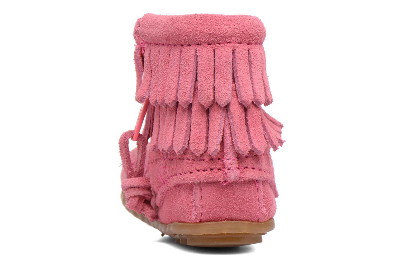 Bottines et boots Minnetonka Double Fringe side zip boot B Rose vue droite