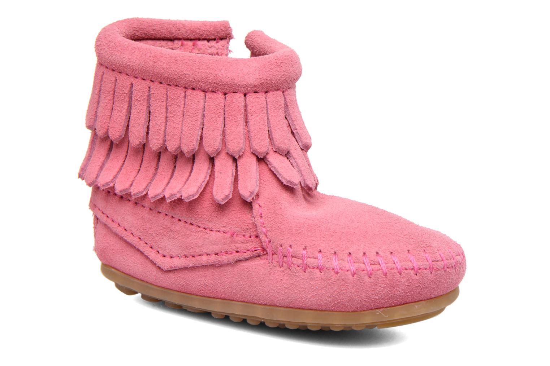 Bottines et boots Minnetonka Double Fringe side zip boot B Rose vue détail/paire